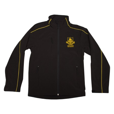 Whakatane HS Softshell Jacket Black w/Gold Piping